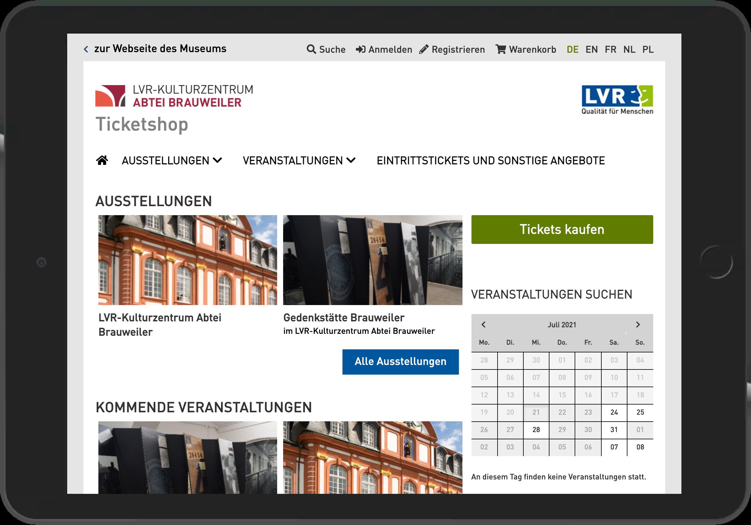 Screenshot der Startseite des Online Shop der Abtei Brauweiler