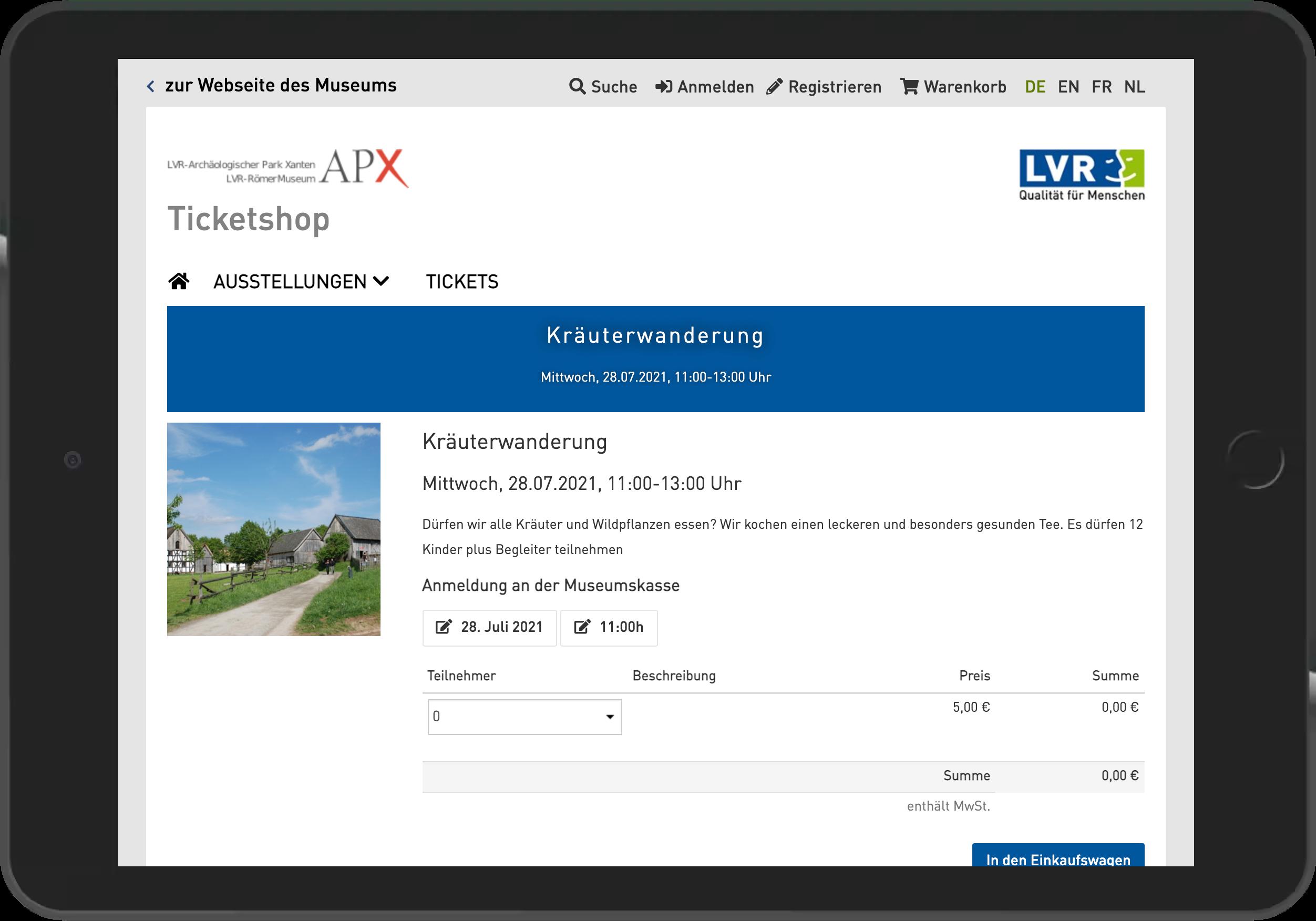 Screenshot der Startseite des Online Shop des Archäologischen Park Xanten