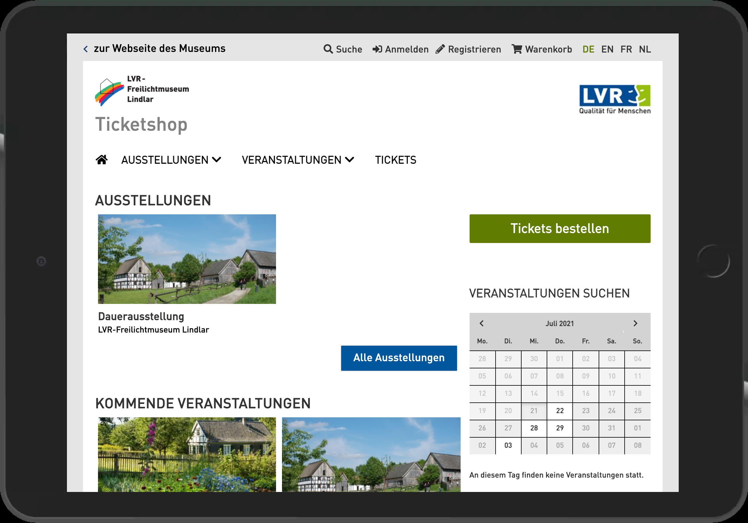 Screenshot der Startseite des Online Shop des Freilichtmuseum Lindlar