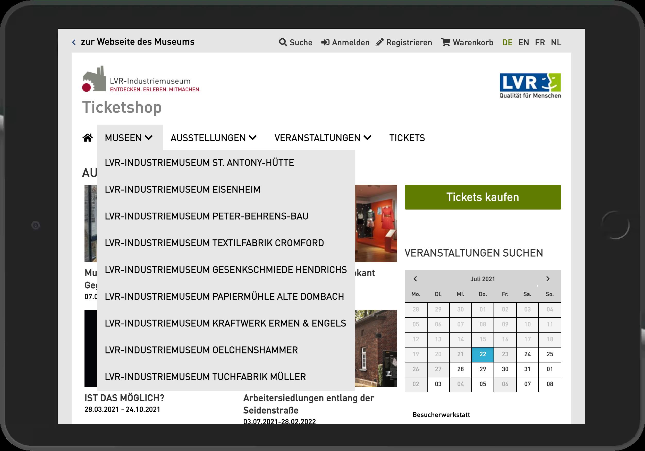 Screenshot der Startseite des gemeinsamen Online Shop der neun LVR-Industriemuseen