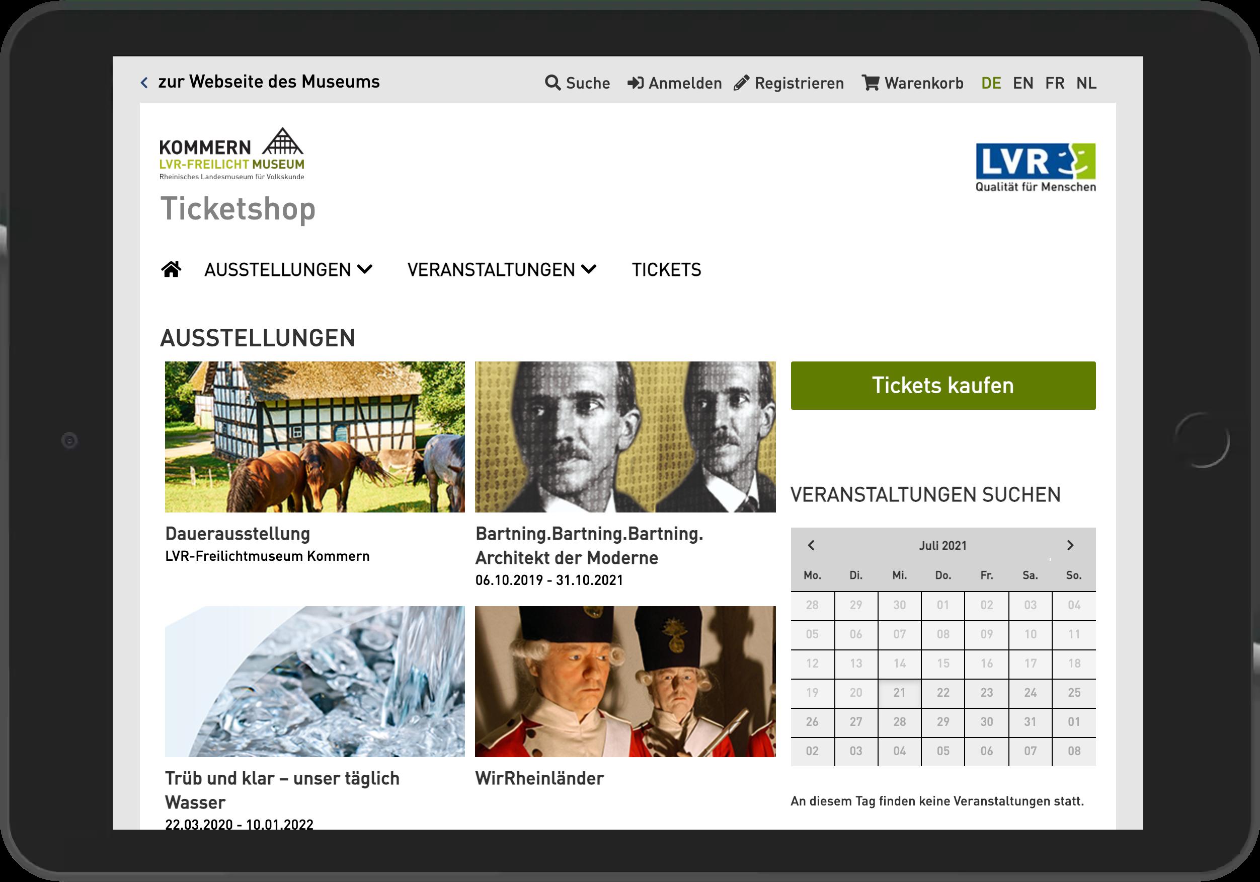 Screenshot der Startseite des Online Shop des Freilichtmuseum Kommern