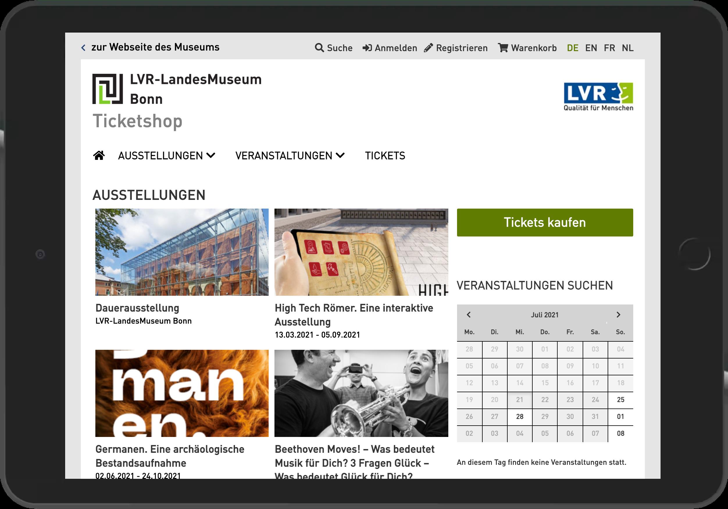 Screenshot der Startseite des Online Shop des Landesmuseum Bonn