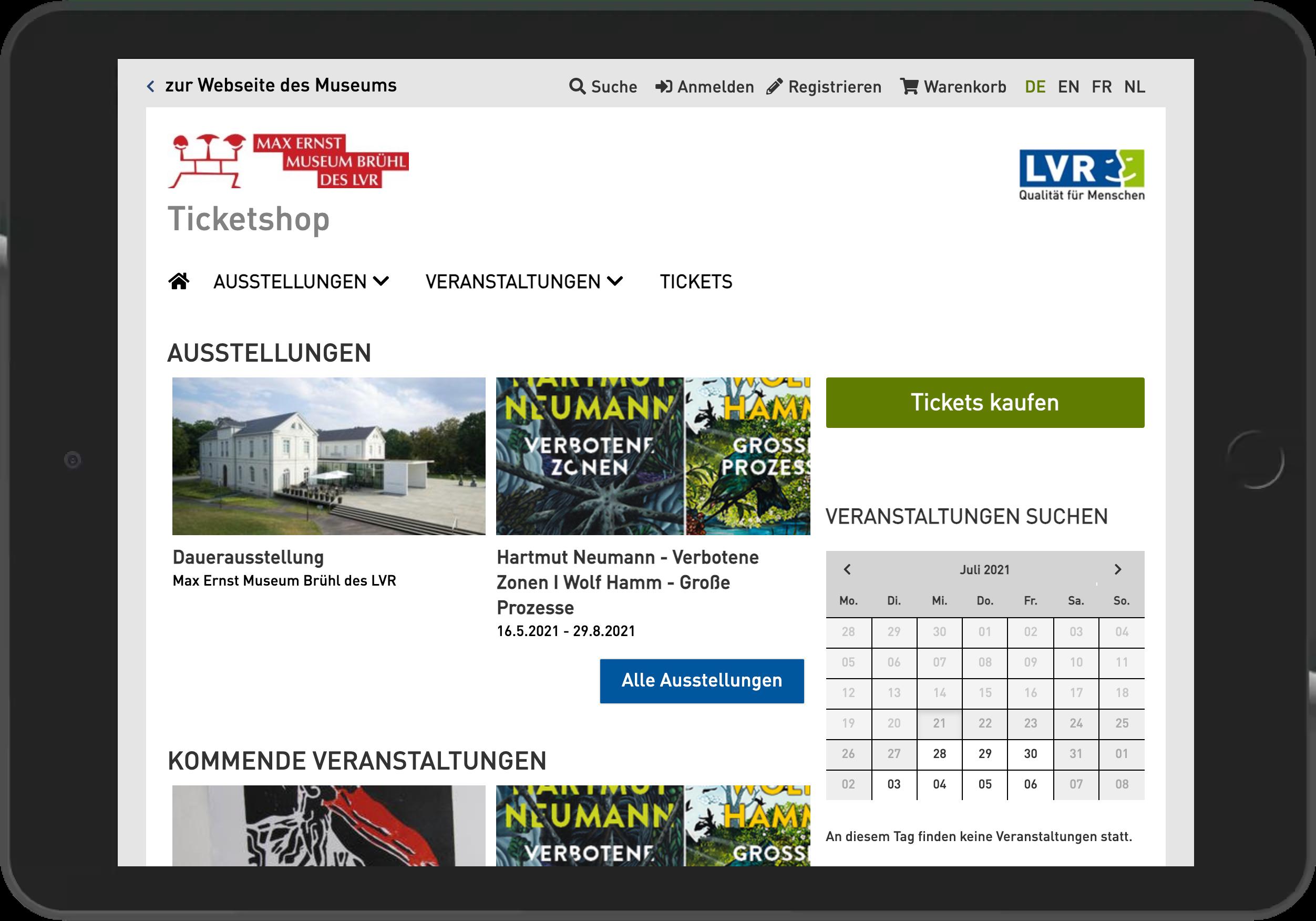 Screenshot der Startseite des Online Shop des Max Erst Museum Brühl