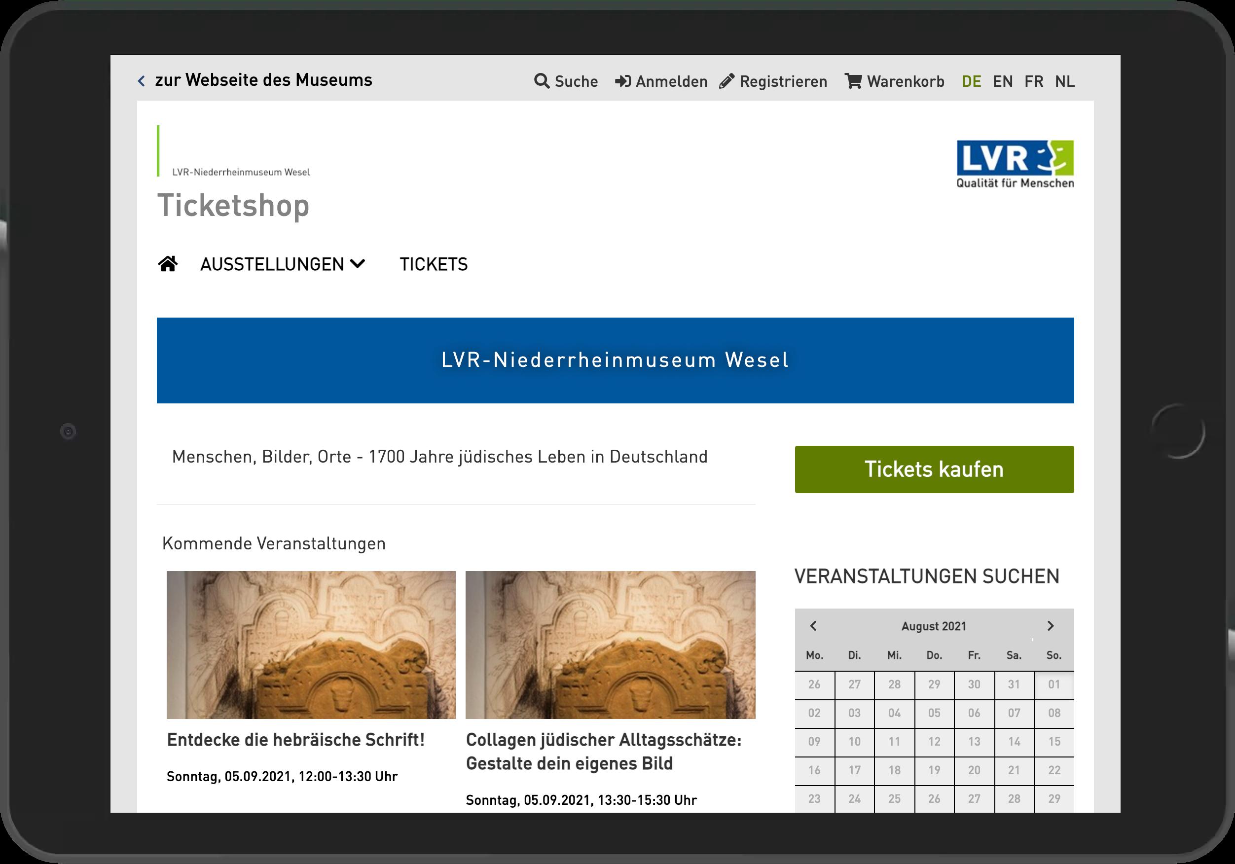 Screenshot der Veranstaltungsübersicht des Online Shop des Niederrheinmuseum Wesel