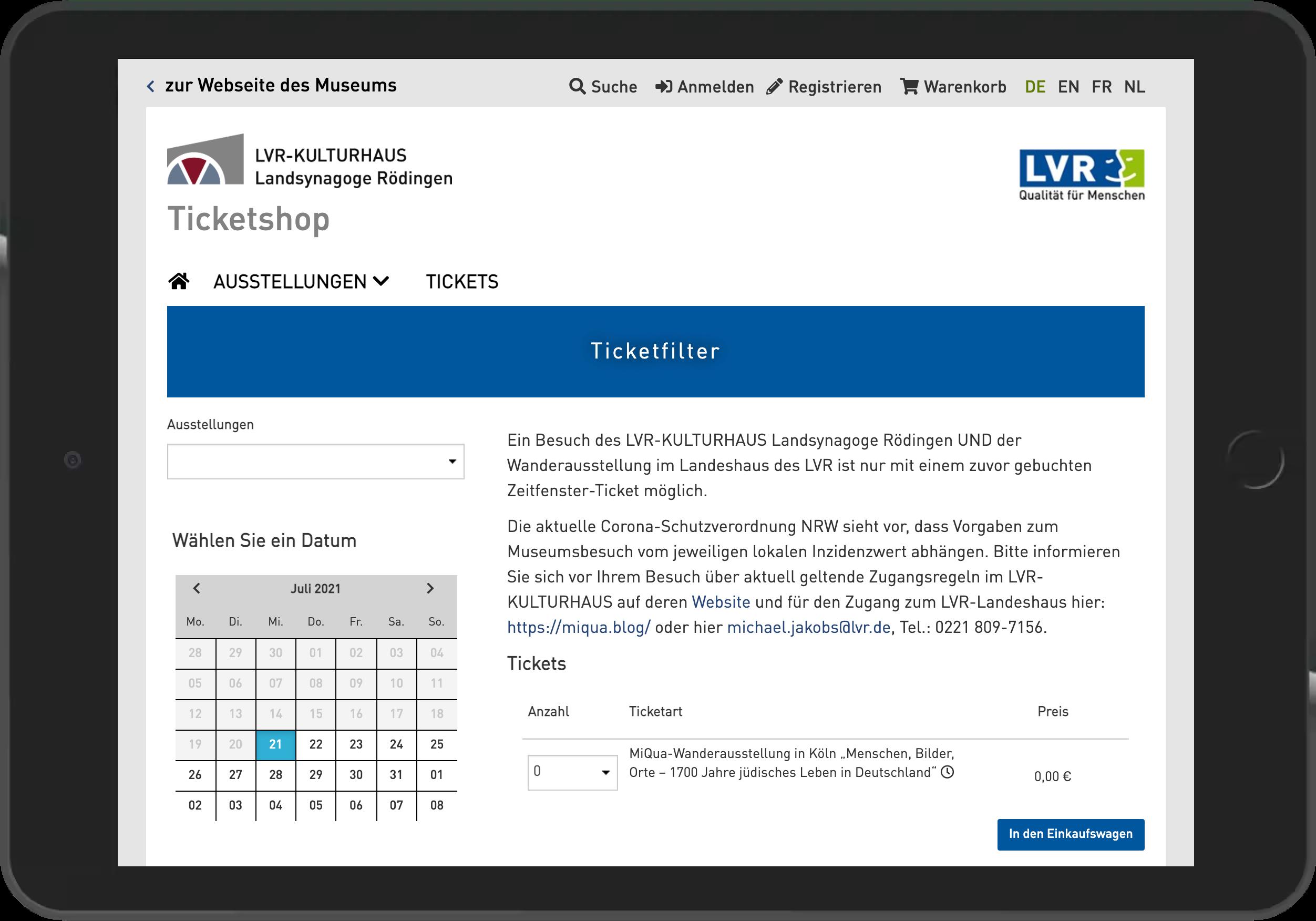 Screenshot der Ticketbuchung im Online Shop der Synagoge Rödingen