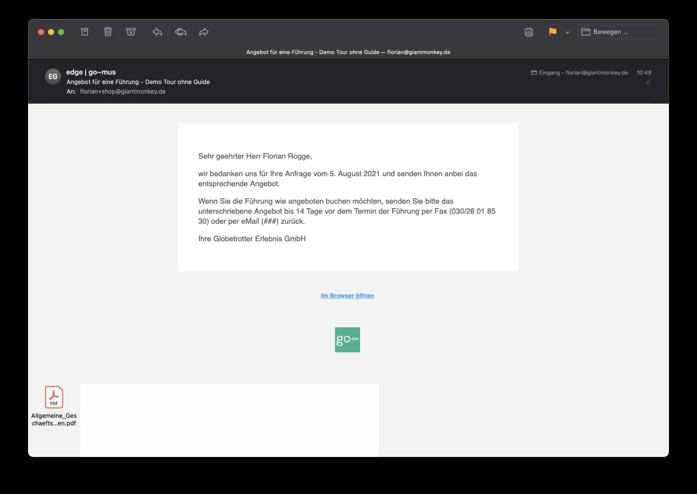 Screenshot der E-Mail für Buchungsangebot