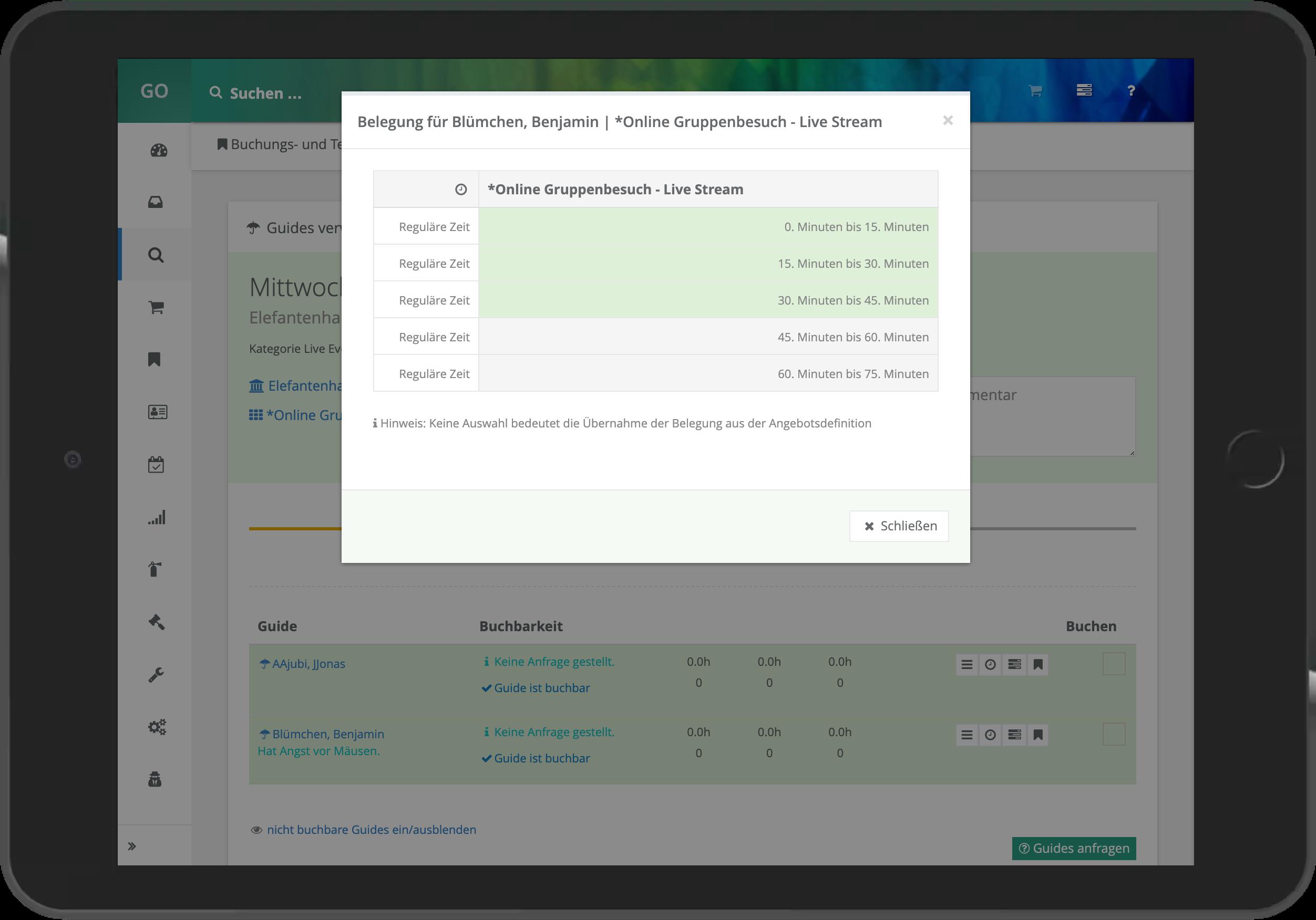 Screenshot der Festlegung der Guidebelegung einer Buchung in go~mus