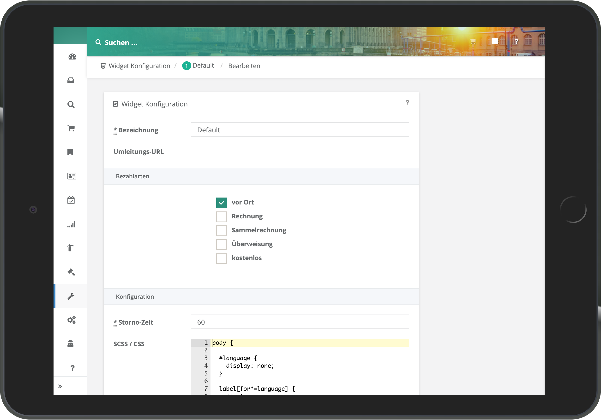 Screenshot der Konfiguration des Widgets per CSS