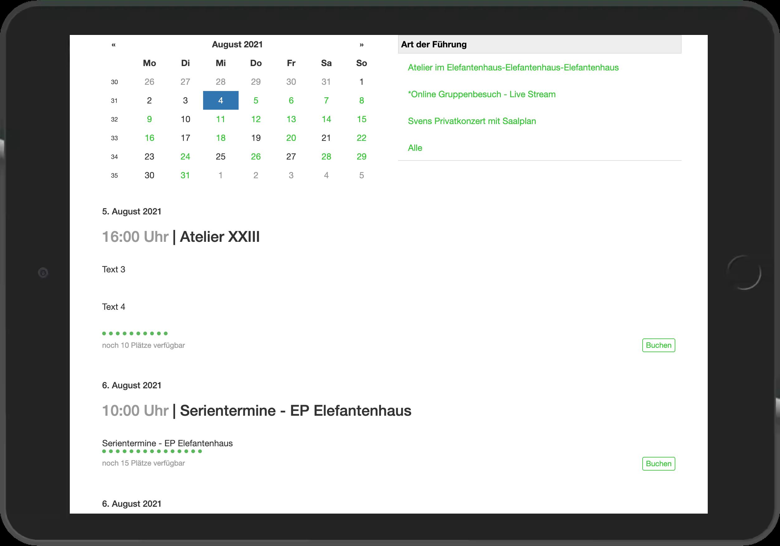 Screenshot der Übersicht mehrerer buchbarer Angebote im Widget