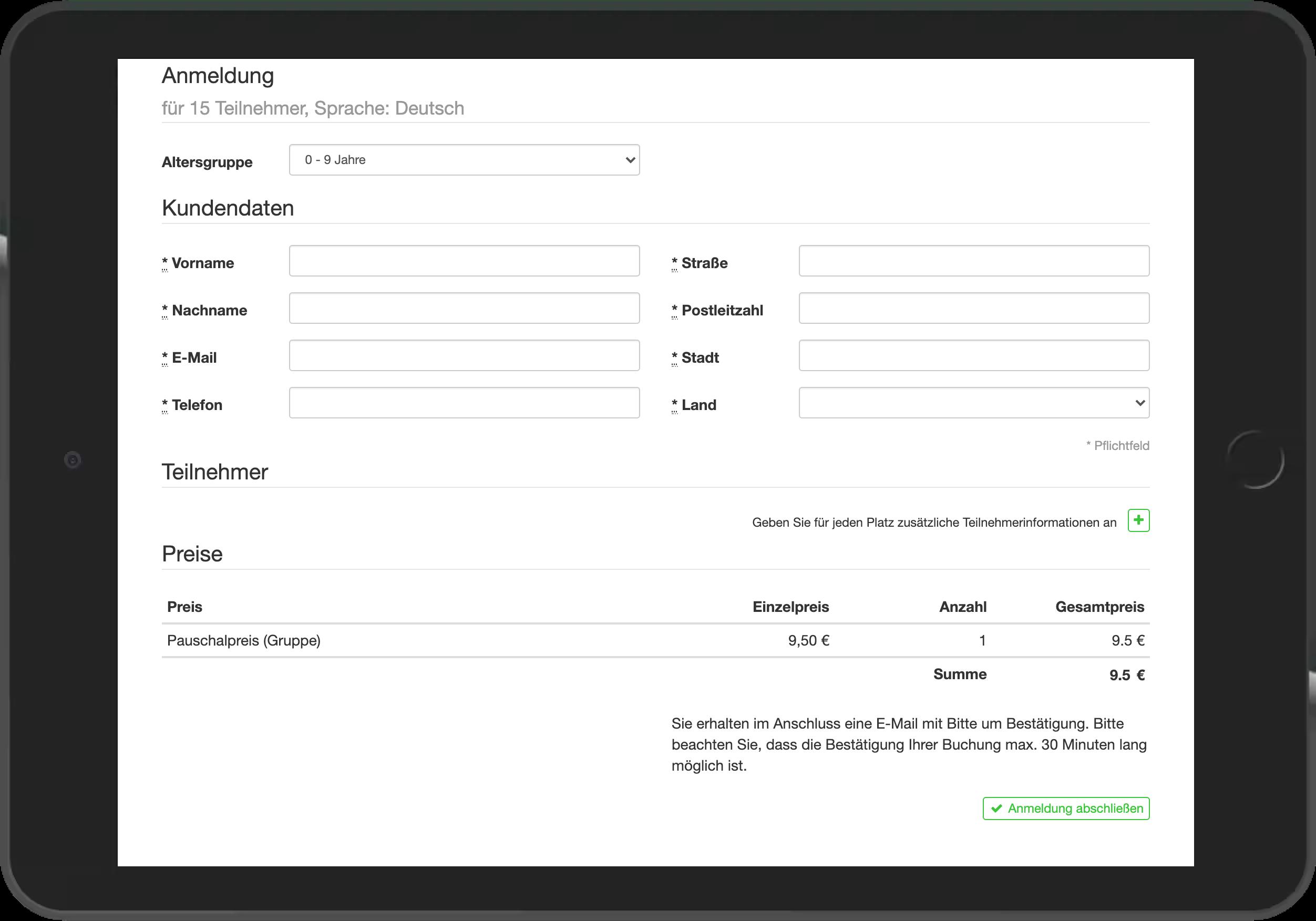 Screenshot der Eingabe der Kund:innendaten im go~mus Widget